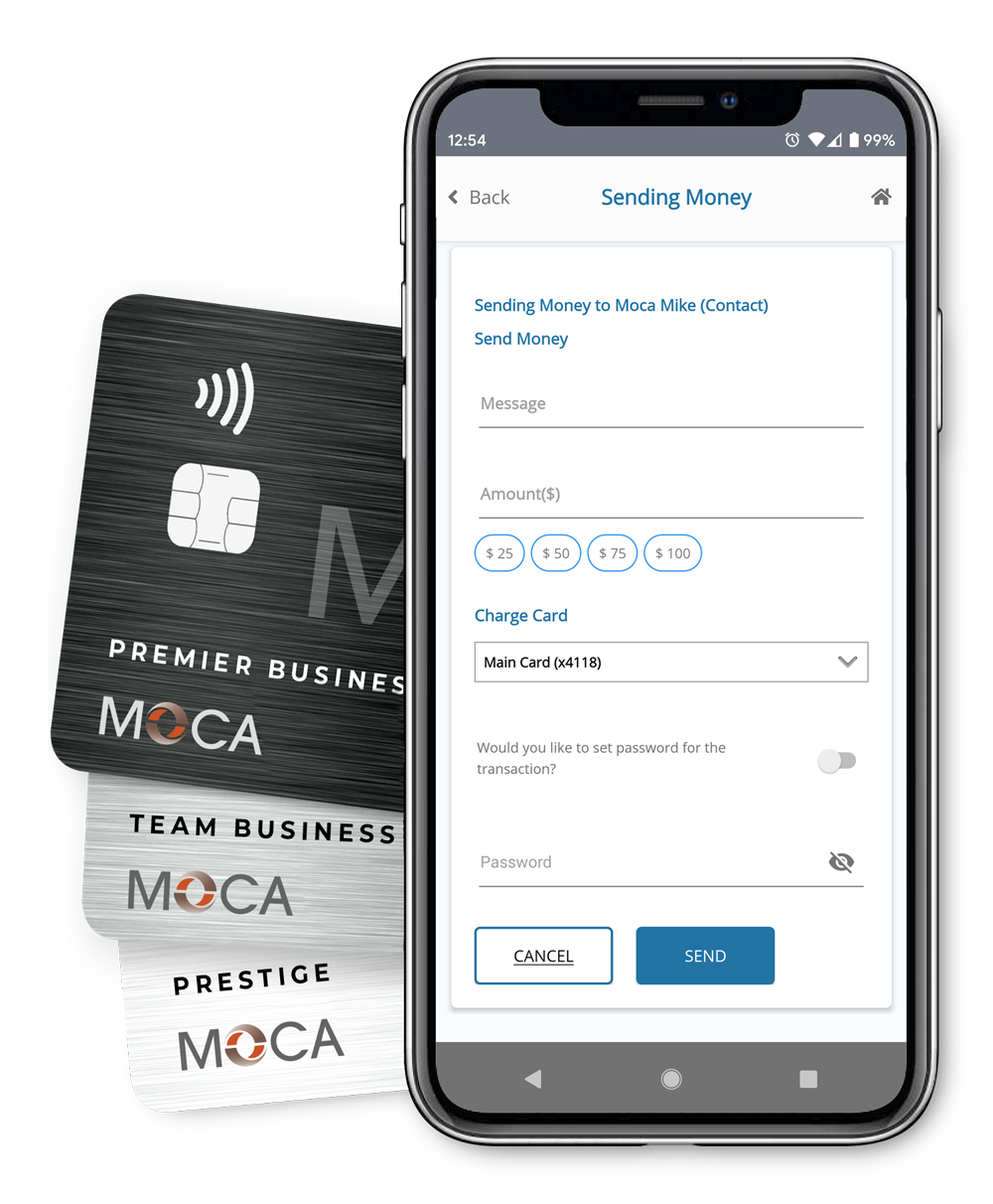 Sending Money with the MOCA app for business